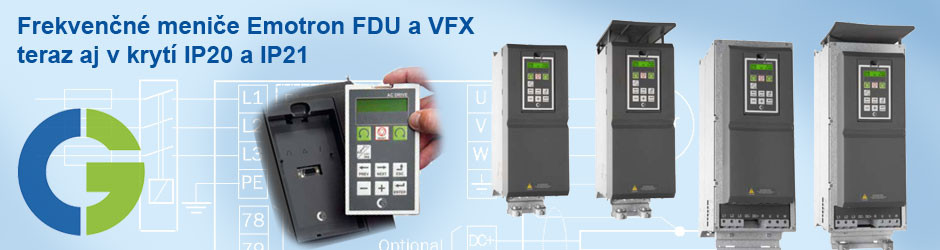 Frekvenčné meniče Emotron FDU a VFX v krytí IP20 a IP21