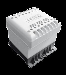 Bezpečnostný transformátor s krytím IP20 s uchytením na DIN lištu alebo na panel