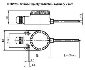 DTS125L - Snímač teploty vzduchu Pt100 - rozmery