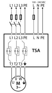 Zapojenie softštartéru Emotron TSA - schematicky