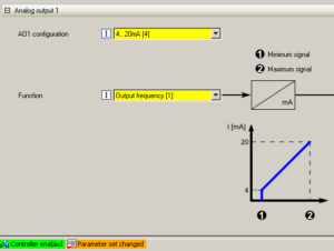 Príklad nastavenia analógového výstupu meniča VS10 - VS30 cez PC