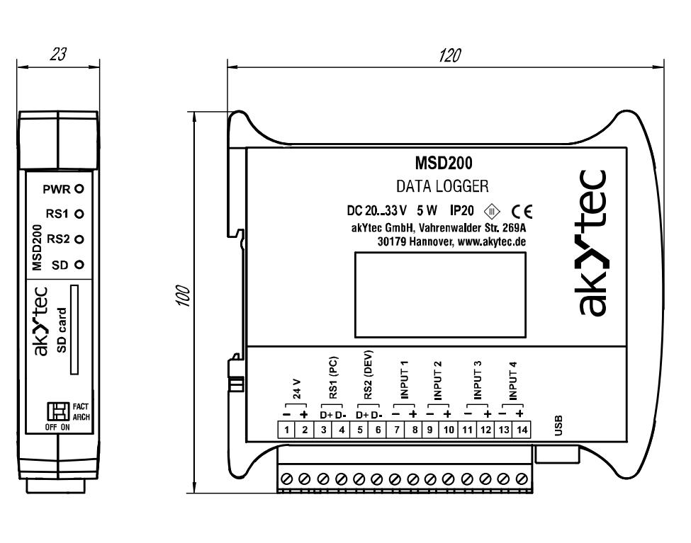 MSD200 rozmery v mm
