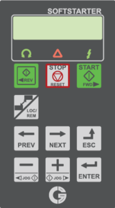 Ovládací panel softštartéru Emotron TSA, s českým jazykom