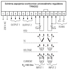 Schéma zapojenia regulátora TRM202
